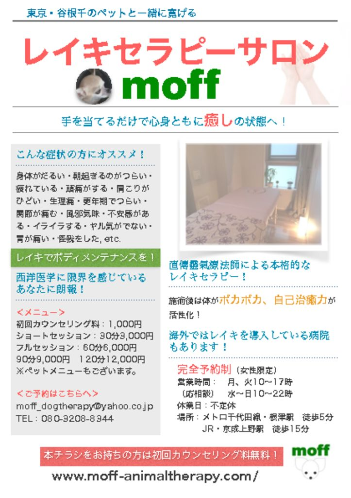 reikitherapy salonn moff flyerのサムネイル